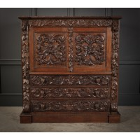 Profusely Carved Oak Cabinet