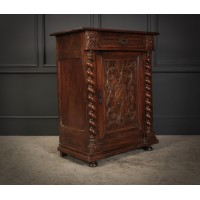 French Carved Walnut Side Cabinet