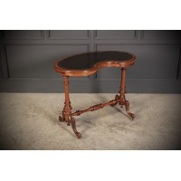 Fine Kidney Shaped Burr Walnut Side Writing Table