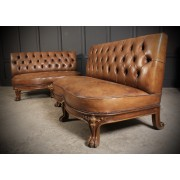 Pair of Walnut & Leather Chesterfield Sofas