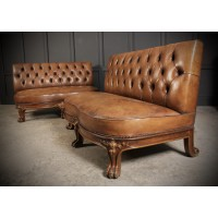 Pair of Walnut & Buttoned Leather Sofas