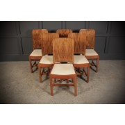 6 Art Deco Walnut & Suede Dining Chairs