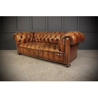 Hand Dyed Tan Leather Chesterfield Sofa