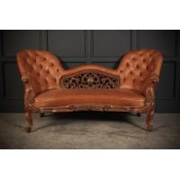 Victorian Walnut & Leather Spoonback Sofa