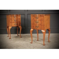 Pair of Queen Anne Style Bedside Chests