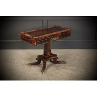 Brass Inlaid Regency Rosewood Card Table