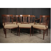 Set of 10 Regency Mahogany Bar Back Dining Chairs
