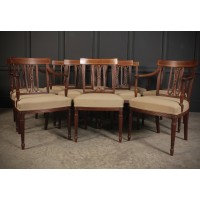 Set of 10 Regency Mahogany Bar Back Dining Chairs