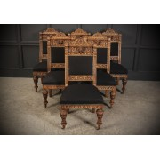 6 Bleached Carved Oak Dining Chairs