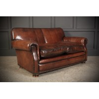 Hand Dyed Leather Club Sofa