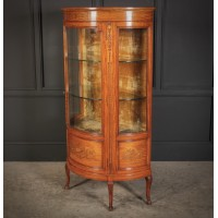 Fine Marquetry Inlaid Satinwood Cabinet By Jas Shoolbred