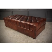Very Large 18th Century Buttoned Leather Ottoman