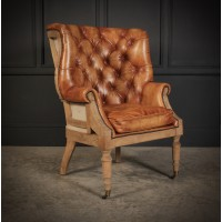 Hand Dyed Leather Deconstructed Wing Chair