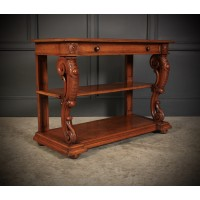 Victorian Oak 3 Tier Console Table