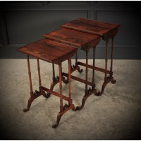Superb Regency Rosewood Nest of 3 Tables