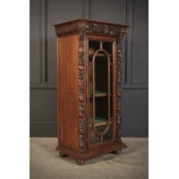 Carved Oak Glazed Cabinet