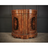 Shaped Walnut Marquetry Inlaid Cabinet