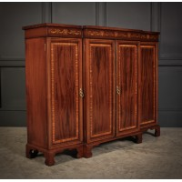 Magnificent Marquetry Inlaid Breakfront Bookcase