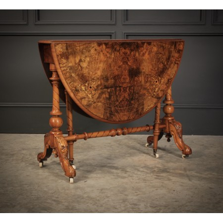 Superb Burr Walnut Marquetry Inlaid Sutherland Table