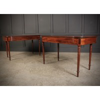 Pair of Georgian Mahogany D Shaped Console Tables