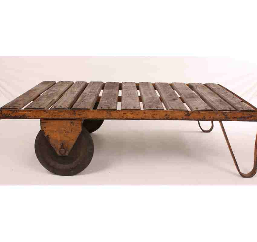 Industrial trolly coffee table for Coffee tables industrial
