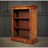 Marquetry Inlaid Figured Walnut Open Bookcase
