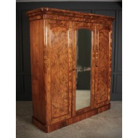 Figured Walnut Triple Wardrobe
