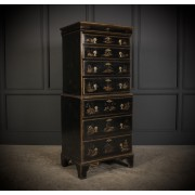 Chinoiserie Japanned Tallboy Chest on Chest
