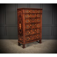 Tall Dutch Marquetry Chest of Drawers