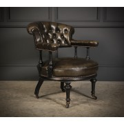 Ebonised & Leather Low Captains Chair