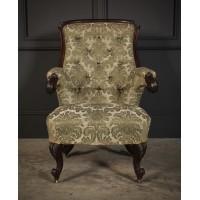 Victorian Upholstered Mahogany Armchair