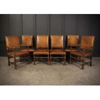 Set of 8 Solid Oak & Leather Jacobean Style Dining Chairs