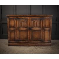 Solid Oak Linenfold Cabinet