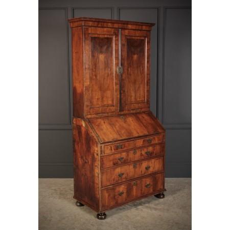 Queen Anne Walnut Bureau Bookcase