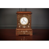 French Brass Inlaid Rosewood Mantle Clock