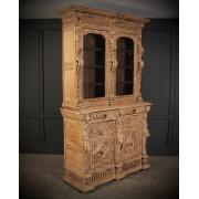 Carved Raw Oak Glazed Bookcase