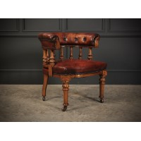Superb Figured Walnut & Leather Desk Chair