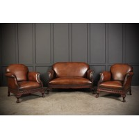 Chippendale Hand Dyed Leather & Mahogany Club Suite