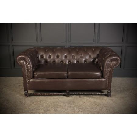 Dark Brown Leather Chesterfield Sofa