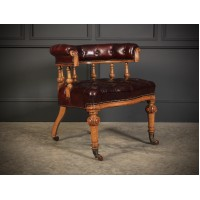 Victorian Oak & Leather Captains Desk Chair