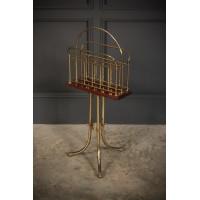 Brass & Mahogany Rotating Magazine Rack