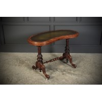 Victorian Walnut Kidney Shaped Library Table