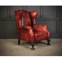 Hand Dyed Leather Wing Chair