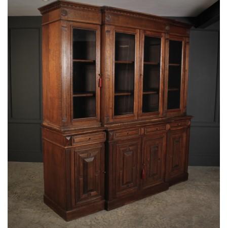 Large French Oak Breakfront Bookcase