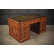 Large Oak Double Inverted Breakfront Partners Desk