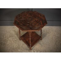 Carved Oak Octagonal Occasional Table