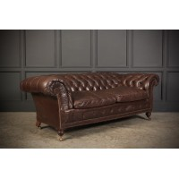 Genuine Victorian Leather Chesterfield Sofa
