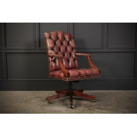 Mahogany & Leather Gainsborough Desk Chair (Repro)