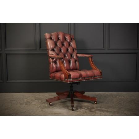 Mahogany & Leather Gainsborough Desk Chair (Repro)