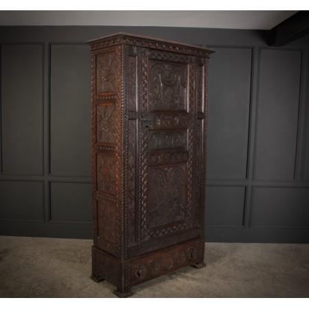 19th Century Carved Oak Cupboard